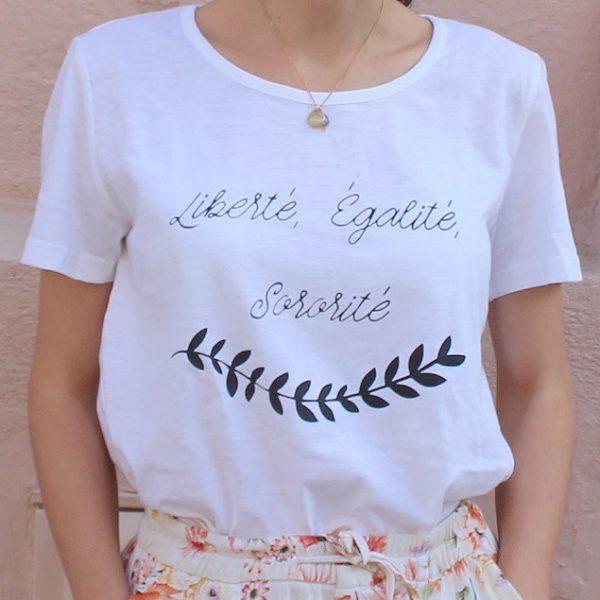 t-shirt blanc femme, liberté, égalité, sororité, coton bio, made in Europe