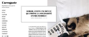 l'arrogante, Stéphanie Chermont, Vanina Denizot, Soror, revue indépendante, revue féministe, mook